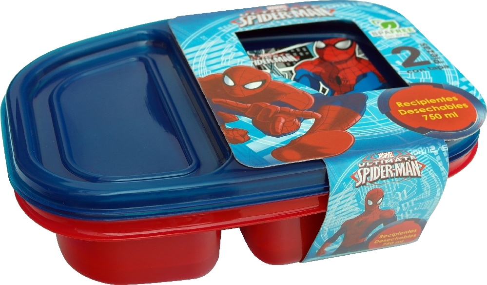 Recipiente 2 Divisiones Spiderman 750 Ml 2 Pzas Marvell 82132 Store It
