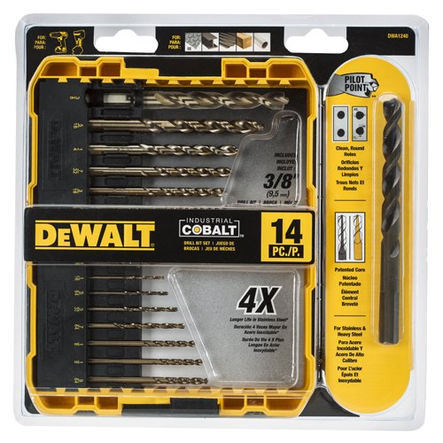 Set de 14 Brocas de Cobalto Industriales Pilot Point DWA1240 DeWalt
